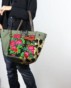 Military Canvas and Fabric Tote Bag/Upcycled by NeroliHandbags