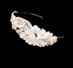 Florentina Lace Flower Wedding Headband has stunning floral detail in a combination of ivory Alencon lace and organza. The floral design is complemented wit Lace Chiffon, Chiffon Flowers, Floral Wedding, Wedding Flowers, Wedding Headband, Wedding Accessories, Headpiece, Diamond Earrings, Floral Design