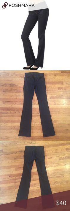 J Brand Slim Boot Jeans J Brand Slim Boot Cut Jeans in Shadow (dark dark coated wax indigo - almost black). Mid rise. Skinny through the knee. Size 25. True to size. 9.5/10 condition. All prices are negotiable! Make me an offer! ☺️ J Brand Jeans Boot Cut