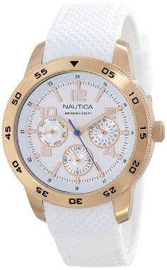 Awesome Nautica Women's N18696M NCT White Silicone Watch  –  Women