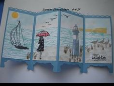 Trendy Ideas Paper Folding Screen Stampin Up Birthday Cards For Men, Handmade Birthday Cards, Fancy Fold Cards, Folded Cards, Screen Cards, Nautical Cards, Retirement Cards, Easel Cards, Scrapbook Cards