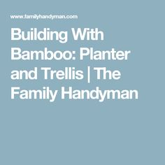Building With Bamboo: Planter and Trellis | The Family Handyman
