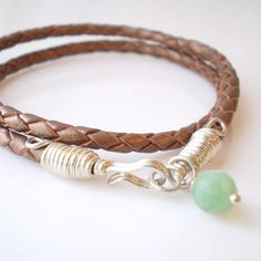 Double Wrap Braided Leather Bracelet in Metallic by BornInBrooklyn