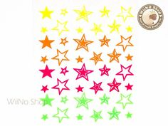 Neon Star Adhesive Nail Sticker Nail Art  1 pc HR03 by wiino, $2.00