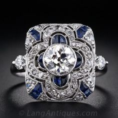 Lovely sapphire and diamond deco ring