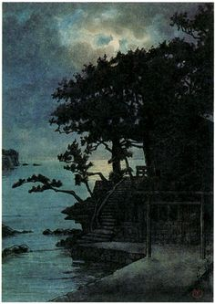Kawase Hasui: Benten Shrine, Kakizaki, Shimoda. Original Watercolor. The woodblock print has a much cleaner look than the original watercolor. The deep blue expanse of sky makes a better contrast to the dark detailed temple and trees. Many of Hasui's night scenes were printed in these rich blue tones, a palette which continues to appeal to collectors