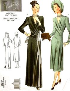 Vogue 2354 vintage sewing pattern 1940s dress in day or