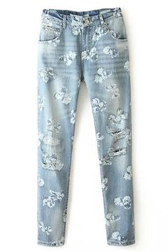 The boyfriend jeans feature a classic five-pocket style, floral print throughout, sexy distressed detail on the front, bleached wash, belt loops, a button zip fly closure, and lined.