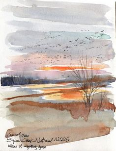 Sketching in Nature: Squaw Creek National Wildlife Refuge, Mound City, MO - mery. Sketching in Nature: Squaw Creek National Wildlife Refuge, Mound City, MO – mery… – Sketchin Watercolor Landscape Paintings, Watercolor Sketch, Abstract Watercolor, Landscape Art, Watercolor Sunset, Abstract Paintings, Watercolor Beginner, Landscape Sketch, Watercolor Pencils