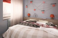 Student apartment on Behance Student Apartment, Fox Art, Red Fox, Comforters, Behance, Curtains, Blanket, Bed, Interior