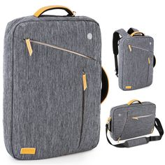 Amazon.com: Laptop Briefcase Backpack, Evecase Water Resistant Convertible Laptop Canvas Briefcase Backpack - fits up to 17.3-inch Laptop - Gray: Computers & Accessories