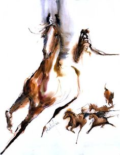 Commissioned by Horse protection of US. WATERCOLOR Horse print Signed by the Artist Carol Ratafia DOUBLEMATTED to 16x20. $43.50, via Etsy.