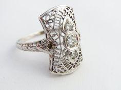 SALE Antique Engagement Ring Art Deco Diamond 3 by ERAtiqueJewels