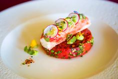 Yuzu grilled watermelon with poached king crab and avocado purer
