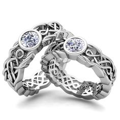 Matching Wedding Rings: Celtic Knot Solitaire Rings in 14k White or Yellow Gold. This matching wedding band set showcases his and hers solitaire ring set in 14k gold Celtic knot ring with a round cut diamond or gemstone. Simple design makes this wedding ring set perfect as marriage rings for men and women.