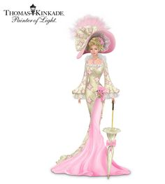 Thomas Kinkade Breast Cancer Support Lady In Real Lace Thomas Kinkade, Victorian Women, Victorian Fashion, Vintage Fashion, Vintage Pictures, Vintage Images, Breast Cancer Support, Moda Vintage, Fashion Art