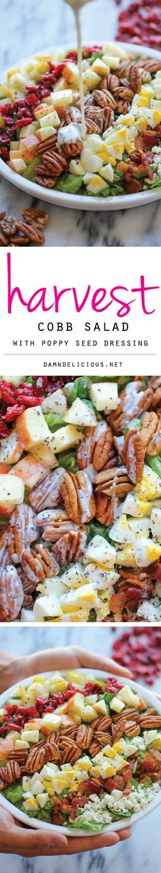 Harvest Cobb Salad - The perfect fall salad with the creamiest poppyseed salad dressing.