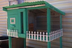 Old rabbit hutch refurbed into a cozy quail cottage, quail coop.