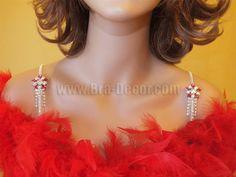 Bra Straps Red & White Flower for Strapless Dresses-Item # 1016 - Rhinestone http://www.giovonna.com/
