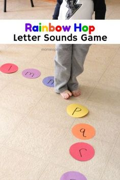 We had so much fun with this Rainbow Hop Letter Sounds Game! This life-size board game is a fantastic way to move and learn alphabet sounds and counting!