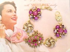 PInks and purples in gold, Jewelry Box Bracelet by Pink Dogwoods