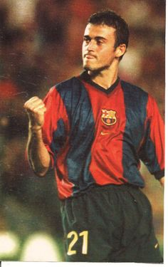 Luis Enrique Martínez, born 8 May 1970, known as Luis Enrique, Spanish right or attacking midfielder, FC Barcelona (1996-2004).  As a player his usual position was right or attacking midfielder, but he was notable for his versatility, having played in all positions throughout his career except central defender and goalkeeper.