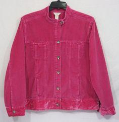 J. Jill Pink Corduroy Crushed Velvet Button Front Jacket Size XL Tall  Women's Fall Winter Fashion