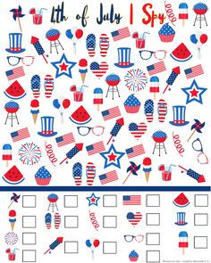 4th of July I Spy Printable - FREE printable to keep the kids busy while they wait for the fireworks this Independence Day. Fun Holiday kids activity!