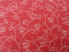 Scandi Xmas Fabric Bird Print Cream/Ecru on Red  by BobBobBobbin
