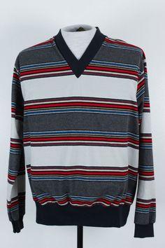 Vintage Kings Road Sears Mens Size L Striped Knit V Neck Sweater 70s Soft  #KingsRoad #VNeck