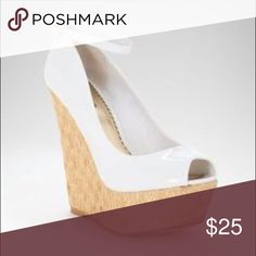 """BeBe """"Jade"""" White Wedge Platform Woven Gold detailed platform  High-gloss White upper  Peep toe Heel height: 5.5 inch Platform height: 1.5 inch Leatherette upper  Synthetic outsole bebe Shoes Wedges"""