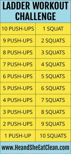 Try our pushup & squat ladder workout challenge! Plus our favorite Try our pushup & squat ladder workout Squat Workout, Workout Challenge, Workout Plans, Workout Ideas, Push Up Workout, Challenge Ideas, Push Up Challenge, Fitness Herausforderungen, Fitness Memes
