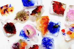These floral ice cubes are so delightful