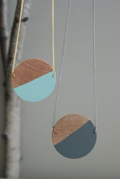 Wooden Circle Pendant Necklace available in 6 colors. $18.00, via Etsy.