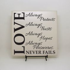 Love Never Fails  Always Protects Trusts Hopes by LEVinyl on Etsy