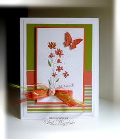 Gorgeous Stampin' Up! card using the recent Sale-A-Bration products.  ♥♥♥ the colours!