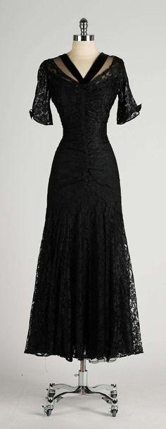 Vintage 1940's Black Chantilly Lace Illusion Bodice Dress