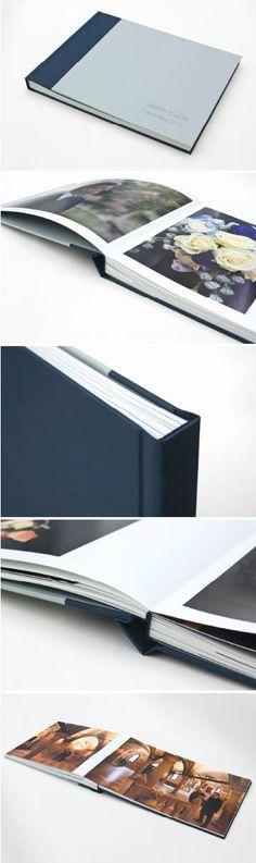 ALBUM PANORAMICO PEARL Servizio fotografico di matrimonio, stampa fine-art su carta Ilford Galerie Pearl certificata, formato aperto 80x30 cm, copertina rivestita in tessuto blu notte Cialux