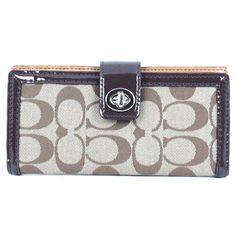 Coach Signature Parker Credit Card Skinny Turnlock Wallet 49536 Khaki Mahogany - http://handbagscouture.net/brands/coach/coach-signature-parker-credit-card-skinny-turnlock-wallet-49536-khaki-mahogany/