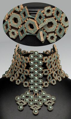 Колье-Style ожерелье с бисером и жемчугом Swarovski Crystal - Огненная гора драгоценных камней и бисера