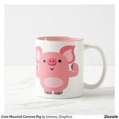 Cute Muscled Cartoon Pig