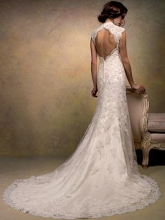 new fashion A-line Lace Cap Sleeve Organza Backless Wedding Dresses&Wedding Gown any size/color advanced custom 2073