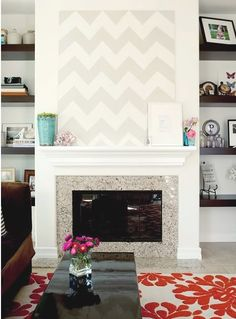 It's that pattern again! Would be very easy to replicate this, picking up the wall color and a shade off it.