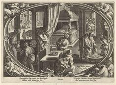 Philips Galle | Winter, Philips Galle, c. 1578 - c. 1582 | Centraal in een cartouche een afbeelding van huiselijke activiteiten. In de voorgrond wordt hout binnengehaald voor het haardvuur. Een oude man warmt zich aan een vuurpot, terwijl een jongeling het vuur met een blaasbalg aanwakkert. Een vrouw houdt zich bezig met naaiwerk. In de achtergrond spelen enkele mannen een kaartspel. In de hoeken buiten de cartouche vier personificaties van het winterseizoen. De prent heeft een Latijns…