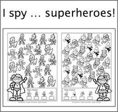 New freebie: I spy ... superheroes, I spy, dyslexia, dyscalculia, AFS-method, perception, visual perception, spatial perception, worksheet, parents, children, homeschooling, freebie