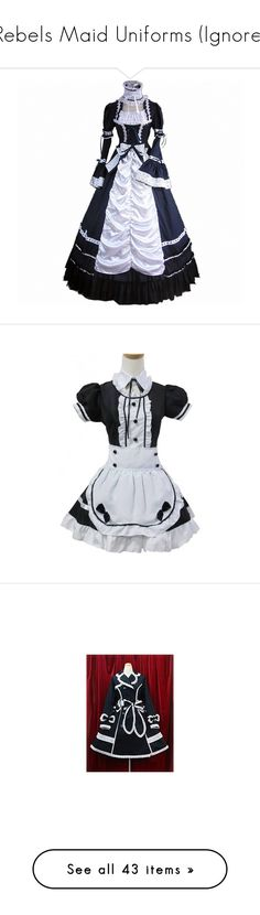 """""""Rebels Maid Uniforms (Ignore)"""" by neverland-is-just-a-dream-away ❤ liked on Polyvore featuring dresses, white black dress, white and black dress, black white dress, black and white dresses, jackets, longsleeve dress, white and black long sleeve dress, white and black strapless dress and black white strapless dress"""