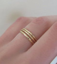Three 14k Yellow Gold Hammered Stacking Rings by esdesigns