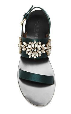 Embellished Satin Sandals by Marni - Moda Operandi