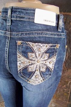 "NWT Grace in La ""easy fit"" embellished lace stitch boot cut jeans size 11 (W-31) #GraceinLA #BootCut"