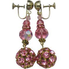 "Vintage 1940's Drop Dangle Earrings Pink Fuchsia Crystals  2.75"""